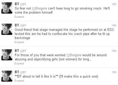 BT Borgore Twitter beef